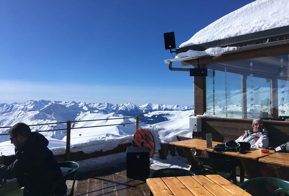 Mountain top bar in La Plagne