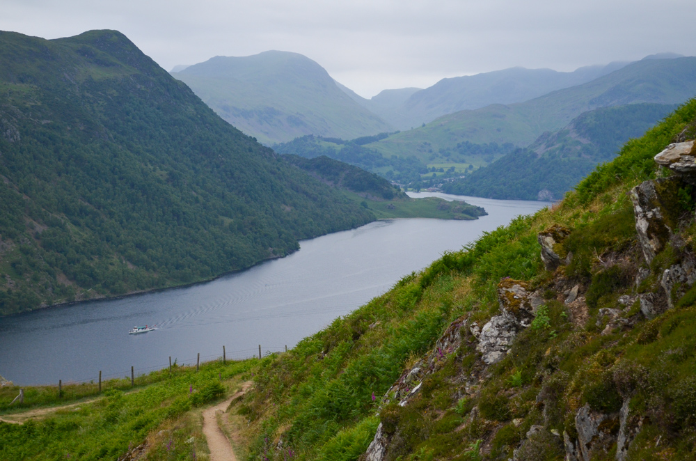 Terrace path on the Ullswater Way Lake District